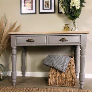 Victorian Pine Farmhouse Console Table